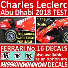 1/43 CHARLES LECLERC 'TEST' Decals for MISSION WINNOW FERRARI SF71-H 2018 Burago