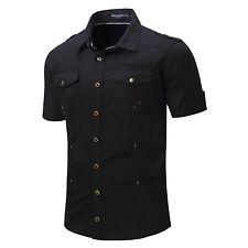 Men's Epaulet Cotton Short Sleeves Stylish Casual Shirts Black Gray Khaki XD128
