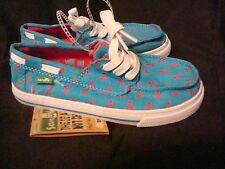 Sanuk Shipwrecked Boys Boat Shoes Canvas Pirate Blue Vegan NEW