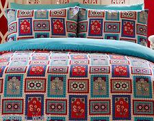 JAIPUR BLUE DUVET COVER SET ASIAN ETHNIC FLORAL BOX SQUARES RED BEIGE AQUA NAVY