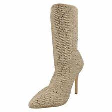 Anne Michelle f50875 mujer beige Colorete Pantorrilla Alto Textil Botas 3A 8 (