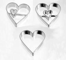 Ausstecher Austechform Herz /mit Innenherz/ Innenherz seitlich/ 4,5 cm Weißblech