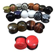 -ALL 10 PAIR- Stone Plugs Organic Single Flare Ear Gauges Body Jewelry (lot 2)