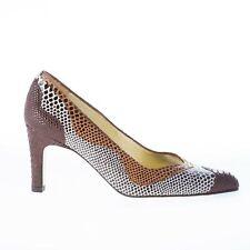 AZUREE CANNES chaussures femme leather multicolor pump dark brown cognac beige