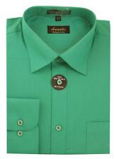 Mens Dress Shirt Plain Emerald Green Modern Fit Wrinkle-Free Cotton Blend Amanti