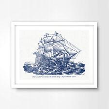 KRAKEN SHIP ILLUSTRATION SEASIDE NAUTICAL ART PRINT Blue Home Decor Wall Artwork