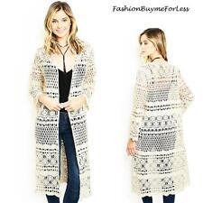 70'S Hippie BOHO Open Front Eyelet Crochet Knit Long Sweater Cardigan S M L NEW