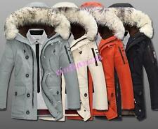 mens Duck Down Coat hooded Warm Winter Parka faux Fur Collar jacket overcoat hot