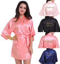 Sexy Women Short Satin Wedding Kimono Sleepwear  Silk Robe bridesmaid  bride @