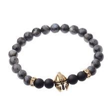Men Black Lava Stone Gold Silver Spartan Helmet Bracelet Beaded Charm Bracelet