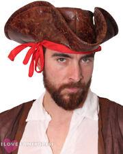 Caribbean Pirate Sombrero Aspecto De Cuero Marrón Tricorn Accesorio Disfraz Elaborado Vestido
