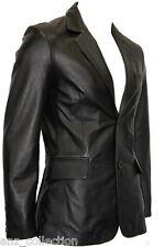 Manhattan2 Mens Blazer Black Long Lapel Tailored Fit Italian Leather Jacket Coat