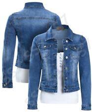 Womens Size 16 12 10 8 14 Stretch Fitted Denim Jacket Ladies Jean Jackets Blue