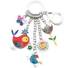 Enamel Alloy Bird Sun Flower Butterfly Car Key Chains Ring Women bag Charms