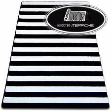6 Größen Modern Weich Teppich SKETCH F758 weiß schwarz Breit Gestreift Streifen