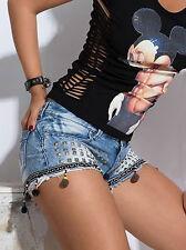 By Alina Damenjeans Hot Pants Jeanshose Hotpants Nieten Jeans Shorts Blau XXS-S