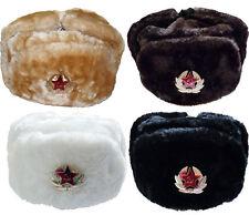Russian Hat Cap Tschapka Black White Beige Brown Russia Soviet Star 59 - 62