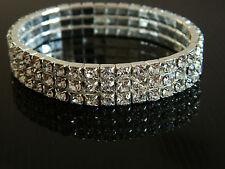 Nuziale Gioielli DIAMOND SHINE tre righe Crystal Bracciale Elastico BB16