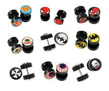 Fake Ear Plugs Novelty, includes Superheroes, Skull, etc 16G-10mm(00G) 2pcs