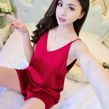 Lady Satin Strap Vest Camisole Shorts Lingerie Pajamas Set Sleep Dress Nightwear