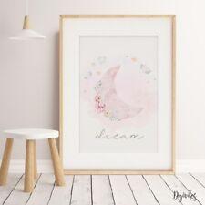 Baby, Girl Nursery Bedroom Wall Art decor print watercolour floral crescent moon