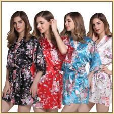 20174 New Silk Wedding Bride Bridesmaid Robe Women Floral Bathrobe Kimono Robe!!