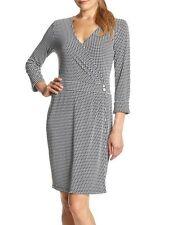 Jones New York Black/White Houndstooth Cuff Slv Stretch Jersey Wrap Dress - $89