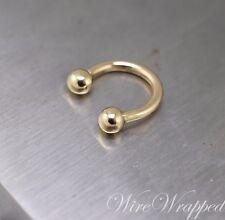 Septum Horseshoe Ring 14k Gold Yellow or W 14ga Nipple Nose Tragus Helix Eyebrow