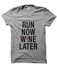Run Now Wine Later unisex t-shirt funny alcohol drinking shirt gym exercise jog