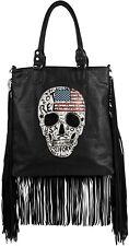 styleBREAKER sac à main drapeau américain dessin tête de mort, strass noir