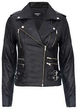 Ladies Retro Black 100% Nappa Leather Biker Jacket