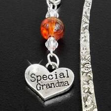 "Grandma Bookmark, Handmade, Silvertone, Crystal Beads, ""Special Grandma"" Charm"