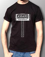 Asgard University Hammer Team Thor Avengers Marvel Cotton T-Shirt Mens Black
