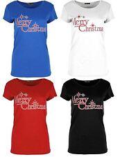 New Womens Plain Merry Christmas Star Print X-Mass T-Shirts 8-22