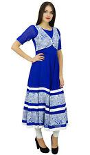 Bimba Women Long Flaired Anarkali Kurti Blue Georgette Designer Kurta Indian