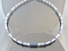 Edelstahl Halskette Collier Damen Herren Hämatit Silber graue lange kurze Kugel