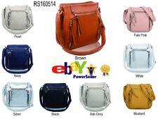 UK Womens Multi Zip Pockets Messenger Handbag Double Compartments Cross-body Bag
