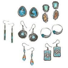 Bohemian Vintage Silver Turquoise Gems Earrings Women Drop Dangle Hook Earrings