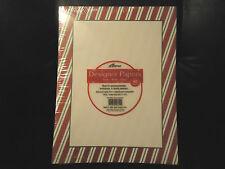 DESIGNER PAPERS RED & GREEN STRIPE BORDER STATIONERY ~ 24 LB BOND ~ 40 SHEETS