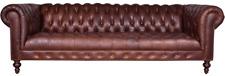 Chestefield Sofa Couch Leder Designer Textil Sitz Polster Garnitur Design 201809