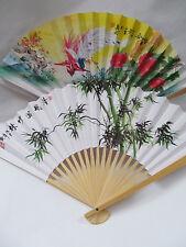 10 x FANS CHINESE JAPANESE GEISHA FANCY DRESS COSTUME WHITE PAPER WOOD FANS 26cm