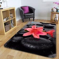 3D Black Stones Lily 84 Non Slip Rug Mat Room Mat Round Elegant Photo Carpet CA
