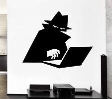 Wall Decal Spy Shadow Cloak Computer Hacker Hat Agent Vinyl Stickers (ed188)