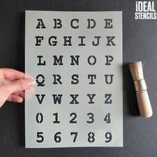 alphabet A-Z 0-9 stencil Typewriter font alphabet art craft marking stencil