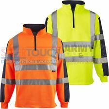 Hi Viz Mens Rugby Shirt Jumper High Vis Sweatshirt Sweater Safety Rail, Roadwork