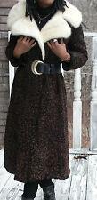 Swing Style Schiaparelli Full length brown black swakara Fur Coat Jacket S 2-6/8