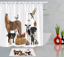 Farmhouse Poultry Rustic Farm Birds and Animals Shower Curtain Hook Bathroom Mat