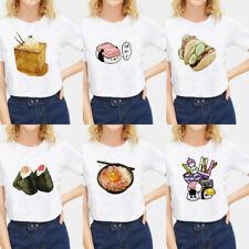 Fashion Harajuku Japanese Food Sushi Graphic T-shirt Round Neck Tops Basic Tee