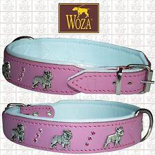 WOZA Premium French Bulldog Collar Bully Full Leather Padded Soft Cow Napa O143