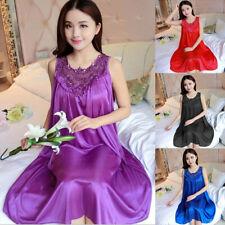 Plus Size Women Silk/Silky Satin Dress Pajamas Robe Nightgown Loose Sleepwear